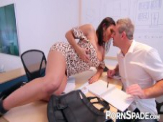 Slutty boss MILF ass dicked by lucky employee